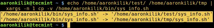 کپی کردن فایل به چندین دایرکتوری در لینوکس